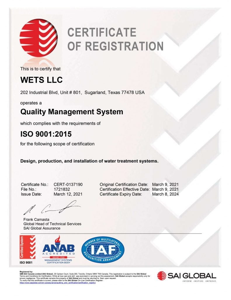 WETS ISO Certificate